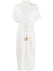 Vestido feminino branco bordado com camisa floral