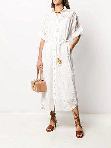Zimmermann - Vestido feminino branco bordado com camisa floral
