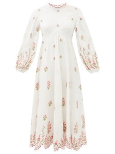 Zimmermann - Shirred floral-print ramie midi dress