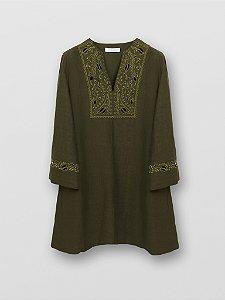 Chloé - Vestido linho bordado