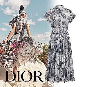 Christian Dior -  Vestido voil com estampa Toile de Jouy Tropicalia