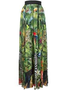 Dolce & Gabbana  -  Saia longa com estampa de selva