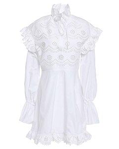 PHILOSOPHY DI LORENZO SERAFINI - Vestido  mini babado em bordado ingles