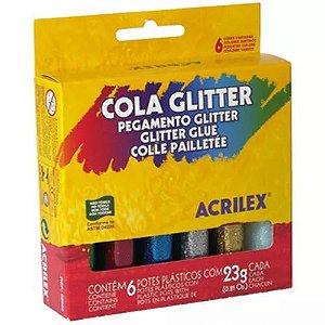 COLA C/GLITER 23GRS C/06 CORES ACRILEX