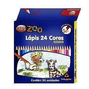 LAPIS DE COR LONGO 24 CORES KAZ
