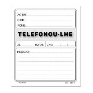 BLOCO RECADO TELEFONOU-LHE 95FLS C/10
