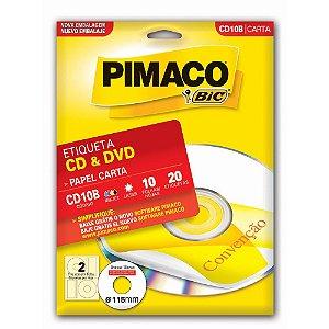 ETIQUETA CD10B P/CD-DVD C/20 PIMACO