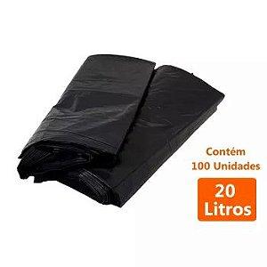 SACO P/LIXO PRETO 20LTS C/100 COMUM