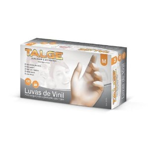 LUVA DESCARTAVEL VINIL C/TALCO M C/100