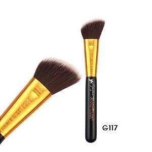 Pincel para Blush Facial Kabuki Angular Linha Gold G117 Macrilan