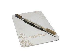Placa e Espátula em Aço Inox para Maquiagem - Macrilan