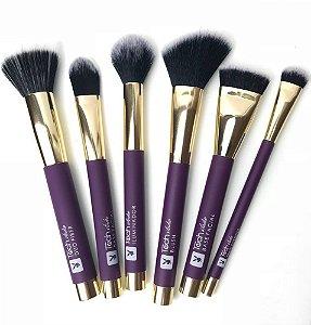 Kit Face com 6 Pincéis de Maquiagem Linha Tech Studio Playboy