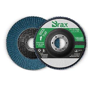 """DISCO FLAP 4.1/2"""" x 7/8"""" - 115 x 22,23 MM - GRÃO 40, 60, 80 ou 120 - ZIRCONADO - BRAX"""