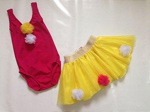 Fantasia Palhaçinha Rosa e Amarela