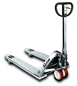 Paleteira manual com chassi de inox 2.200Kg com roda simples em nylon