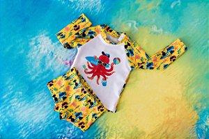 Moda Praia - Conjunto Praia Amarelo - Camisa longa e sunga
