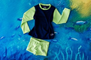 Moda Praia - Conjunto Verde Marinho Flúor - Molhe e Descubra