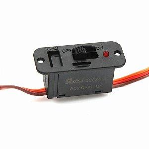 Chave liga/desliga HD RCEXL - Compatível Futaba/JR - c/ LED e porta para carregamento