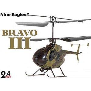 Bravo III Nine Eagle RC 4 canais - Mini-helicóptero elétrico coaxial - Militar verde camuflagem