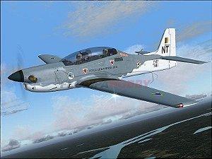 Aeromodelo Tucano T-27 Padrão Cinza e Brano com Canopy Transparente