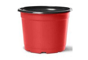 Pote Vaso de Plástico Flexível Tipo Holambra NP06 Nutriplan cor VERMELHO/PRETO