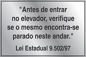 """Placa Aluminio Lei 9502/97 - """"Antes de entrar no elevador """"Pronta entrega"""