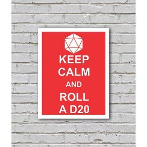 Placa Keep Calm and Roll a D20