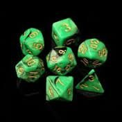 Kit de 7 Dados RPG- Verde mesclado