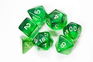 Kit de Dados RPG Verde - 7 peças