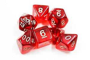 Dados para RPG Translucido  - Vermelho - Conjunto com 7 peças