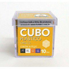 Cubo Plástico Opaco 36 Peças (Preto, Branco, Laranja e Lilás)