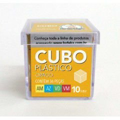 Cubo Plástico Opaco 36 Peças (Amarelo, Azul, Verde e Vermelho)