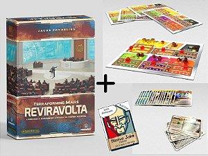 Terraforming Mars Reviravolta (Expansão) + Kit com 20 Cartas Extras + 5 Tabuleiros do Jogador + Sleeves Grátis