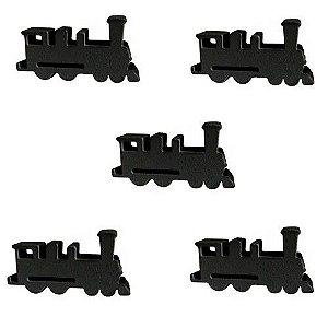 Trem (Peça de Madeira) - Kit com 5 Unidades - Preto