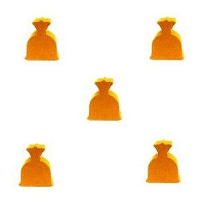 Bolsinha de Dinheiro  (Peça em Madeira) - Kit com 5 Unidades - Amarelo