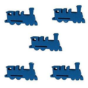 Trem (Peça de Madeira) - Kit com 5 Unidades - Azul