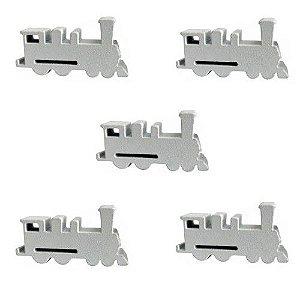 Trem (Peça de Madeira) - Kit com 5 Unidades - Branco
