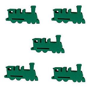 Trem (Peça de Madeira) - Kit com 5 Unidades - Verde Claro