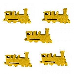 Trem (Peça de Madeira) - Kit com 5 Unidades - Amarelo