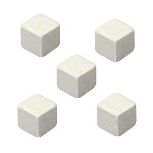 Dado Liso Branco - 16mm - Kit com 5 Unidades