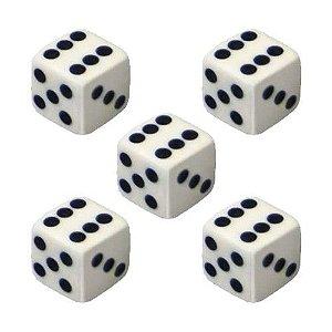Dado D6 Branco - Kit com 5 Unidades