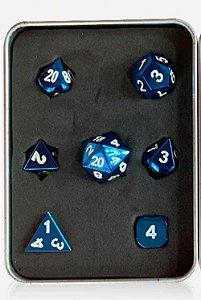 Conjunto de Dados Linha Metal - Azul (7 Dados + caixa)