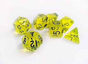 Dados para RPG Translucido - Amarelo Claro - Conjunto com 7 peças
