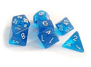 Dados para RPG Translucido - Azul - Conjunto com 7 peças