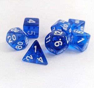 Dados para RPG Translucido - Azul Escuro - Conjunto com 7 peças
