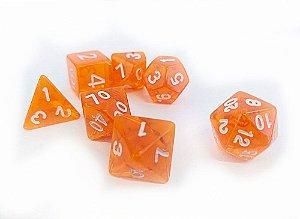 Dados para RPG Translucido - Laranja - Conjunto com 7 peças