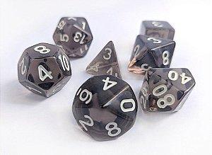 Dados para RPG Translucido - Preto - Conjunto com 7 peças