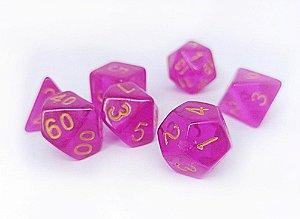 Dados para RPG Translucido - Rosa - Conjunto com 7 peças