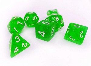 Dados para RPG Translucido - Verde Claro - Conjunto com 7 peças