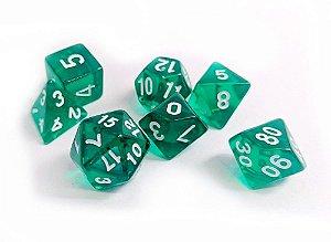 Dados para RPG Translucido - Verde Escuro - Conjunto com 7 peças